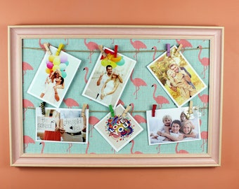 Pink Flamingo Photo Display,  Clothespin Clips for Hanging Photos, Prints and Artwork