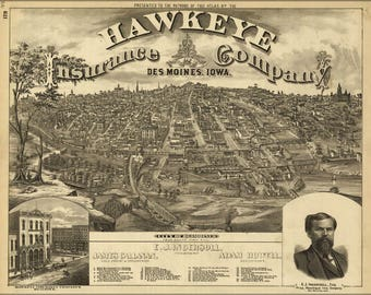 Poster, Many Sizes Available; Birdseye View Map Of Des Moines Iowa 1875