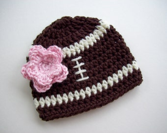 Baby Girl Football Hat, Crochet Baby Girl Hat, Newborn Photo Prop for Baby Girl, Baby Shower Gift, Newborn Baby Girl Hat, Baby Girl Hat