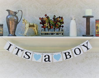 ITS A BOY dECORATIONS, Baby Shower Banners, Light Blue, Baby Boy shower signs