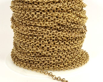 4mm Rolo Chain - Antique Brass - Plated in the USA - CHG1.2-AB - Choose Your Length