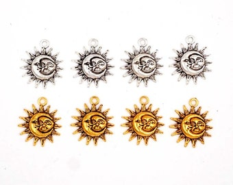 4 Antique Gold Or Antique Silver Sun/Moon Eclipse Charms - 20-S-4