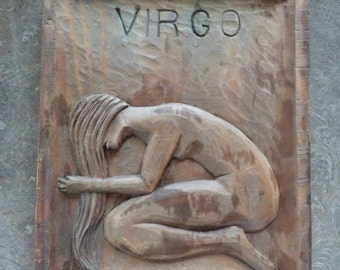 Hand Carved Wood Virgo Wall Hanging . Made in Spain .  Virgos!!!! Where are you????
