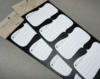 Mailing Labels / Set of 12 / Envelope Stickers / Labels / Wedding Labels / Wedding Envelopes / Black and White / Please Deliver to