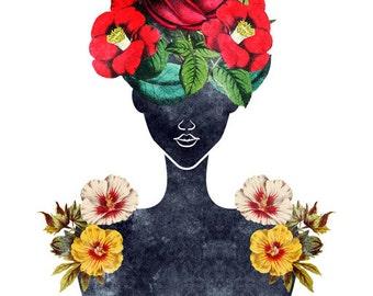 Flower Natural Hair Silhouette Art Print (0003), Rose Valentine Dark Fashion Portrait Illustration, 5x7, 8x10, 11x14