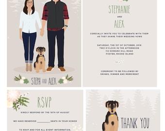 Custom portrait wedding invitation