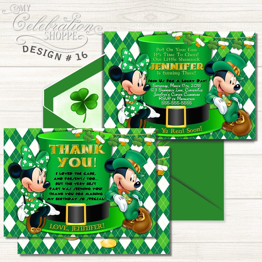 Minnie Mouse St. Patricks Day Invitation Minnie Mouse