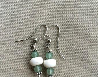 Howlite and aventurine earrings