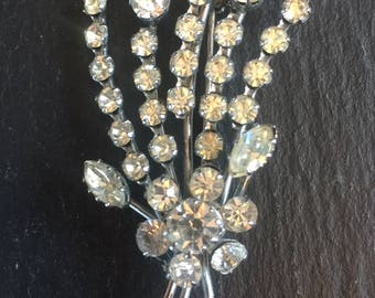 Vintage Floral Spray Brooch 1950s Silver Tone Clear Rhinestones Scarf Lapel Pin Affordable Jewellery Birthday Mothers Day Gift For Her