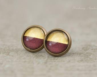 Earrings violet and gold - dip dye, 10 mm, hand-painted earrings - minimalist earrings