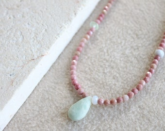 Amazonite necklace, pink beaded necklace, Rhodochrosite necklace, beaded choker, boho choker