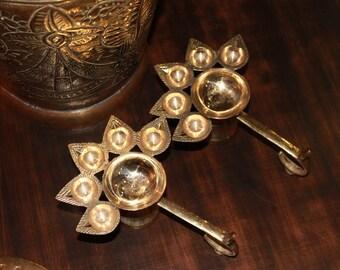 Brass Incense Burners, Set Of 2 Vintage Indian Handmade Brass Puja Incense Burner 5 Wick