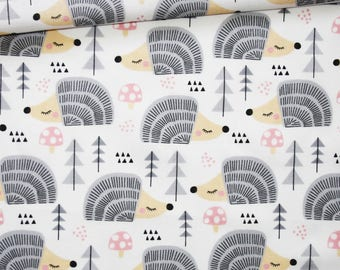Hedgehog, 100% cotton fabric printed 50 x 160 cm, hedgehogs, gray, forest, tree