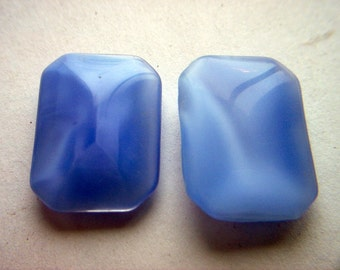 Vintage Light Blue Moonglow Pointed Back Cabochons x 2     #  Z 10