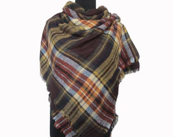 Brown Plaid Blanket Scarf, Oversized Scarf, Tartan Scarf, Checkered Shawl, Christmas Gifts for Mom, Autumn Scarf, Wrap Shawl