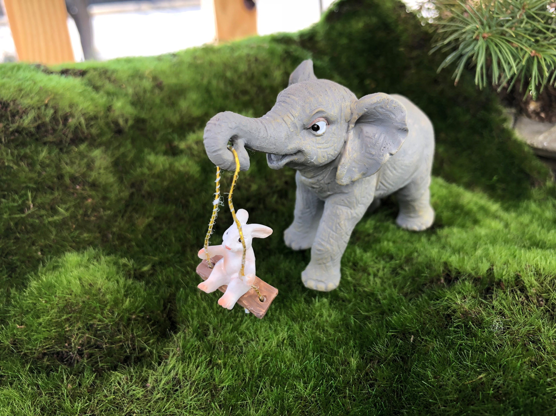 Elephant Figurine, Elephant Swing Bunny #74, Fairy Garden Accessory ...