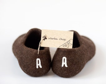 Personalized boyfriend gift - Handmade slippers with initials - Personalized shoes - felted wool clogs - valentines day gift for him