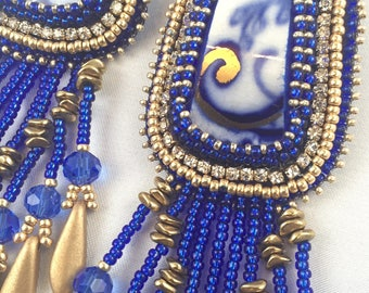 Blue and Gold China Earrings