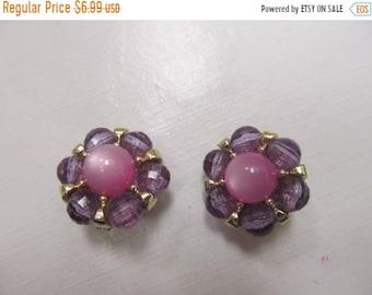 On Sale Vintage Pink and Purple Plastic Earrings Item K # 1926