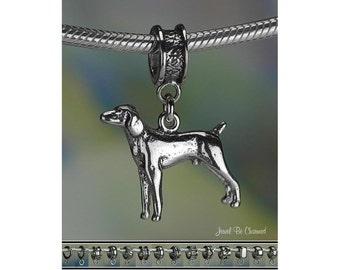 Weimaraner or Vizsla Charm or European Charm Bracelet Sterling Silver