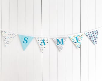 Little Fish Bunting - Starfish Bunting - Name Bunting - Blue Green White Bunting - Personalised Bunting - Nursery - Under the Sea Party