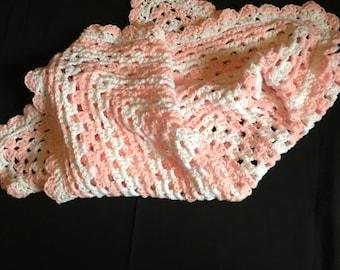 Crochet baby blanket, granny square blanket, pink and white baby blanket