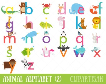 Animal Alphabet Clipart | Lowercase Letters | Safari Animal Letters | Zoo Animal Font