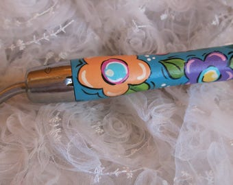 Painted Garden Trowel, Flowers painted on a Shovel, Blue Pink Lavender Orange Painted Gardening Tool