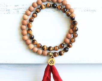Tiger Eye Mala Beads, Sandalwood Mala Bracelet, Tiger Eye Bracelet, Prayer Beads, Yoga Jewelry, Spiritual Jewelry