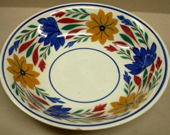 Vintage Dutch Societe Ceramique Maestricht Porcelain Bowl, Hand Painted Floral