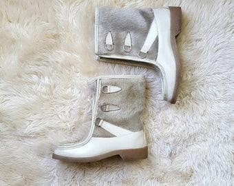 sz. 8   Vintage Fur Moccasin Boots