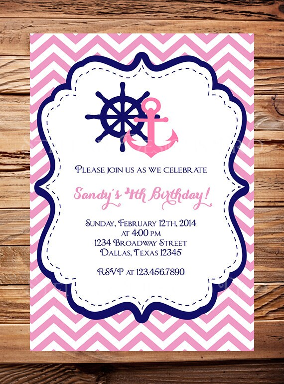 Nautical Birthday Invitation Sailor BOY GIRL Chevron