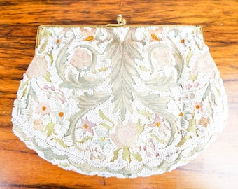 Vintage Floral 1940s Small Embroidered Beaded White Clutch Purse, Antique Unique Floral Handbags for Special Event, One of a Kind Accessory