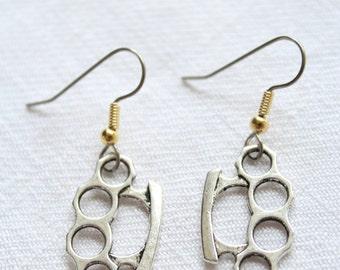 "Dangle earrings. ""Knuckles"" Knuckle Duster"