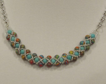 GENUINE - Turquoise and Agate Necklace, Bracelet and Earrings