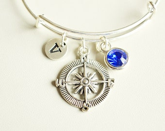 Compass Bracelet, Compass Gift for her, Compass Charm Gift, Compass Jewelry, Compass Bangle, Compass Pendant, Birthday, Sister, Girlfriend