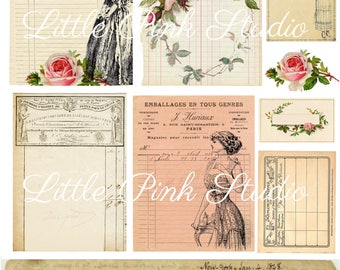 Receipts and Roses,  printable journal cards, tuck spots, stickers, for junk journals, planners, bullet journals (vintage ephemera)