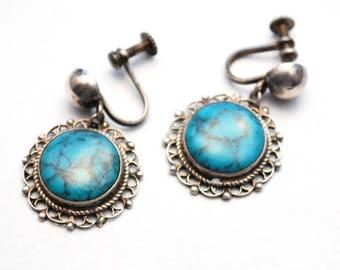 Cute Vintage Sterling and Turquoise Screw Back Earrings - Boho - Mandala - Blue Stone