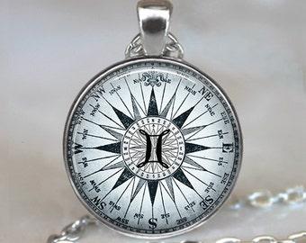 Compass Zodiac Gemini necklace, astrology necklace Gemini jewelry Gemini pendant Zodiac jewelry astrology key chain key ring key fob