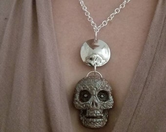 Sugar Skull pendant necklace, day of the dead