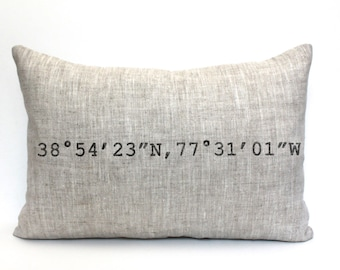"housewarming gift, longitude and latitude pillow, graduation gift, wedding gift, coordinates pillow, mothers day gift - ""The Coordinates"""