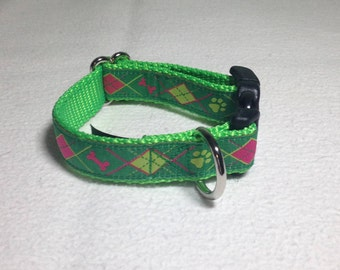 """Beautiful Jacquard Ribbon Collar, Green Doggy Argyle, 3/4 inch wide and adjustable 7"""" to 10"""""""