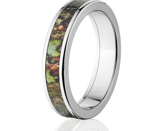 New Mossy Oak Obsession Camouflage Wedding Band Camo Wedding Ring Mossy Oak Obsession Camo Pattern Jewelry Camo Ring : 5F-MOSSYOAK-OBSESSION