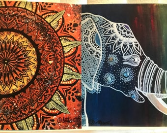 Elephant and Mandala Calendar Poster for 2018/artwork/prints/paintings/multicolored/blue/orange/elephant/mandala/calendars
