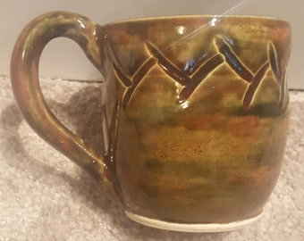 Autumn Harvest - carved mug