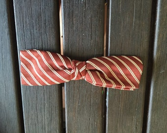 Vintage Brown and White Stripe Bow Tie