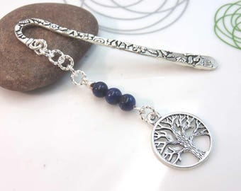 Lapis lazuli bookmark - silver metal bookmark - tree of life bookmark - silver tree bookmark - silver bookmark - gift for book lover - blue