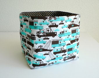 Baby toy storage Fabric basket Nursery decor accent Baby shower gift Diaper storage Toy bin baby boy gift Basket in boy print