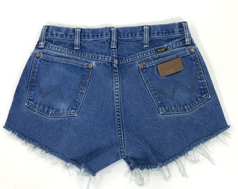 Wrangler VTG 90s High Waist Jean Shorts 29 Distressed Womens Cut-Off Denim