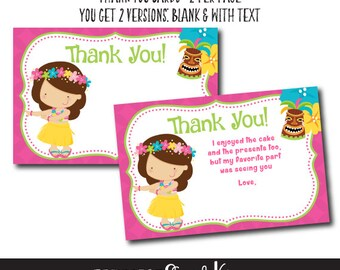 Luau Thank You Cards, Luau Birthday Party, Beach Birthday Party, Summer Birthday, 2 versions included, Instant download